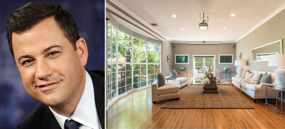 From left: Jimmy Kimmel and his Los Angeles house on 3410 Wonder View Drive