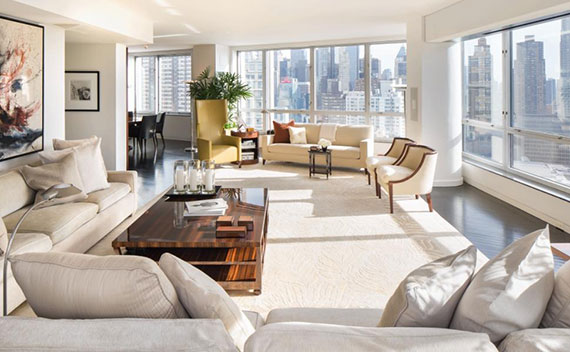 Living room at Marv Albert's penthouse at 150 Columbus Avenue