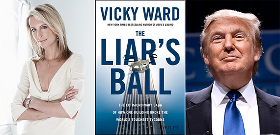 From left: Vicky Ward, Liar's Ball cover and Donald Trump