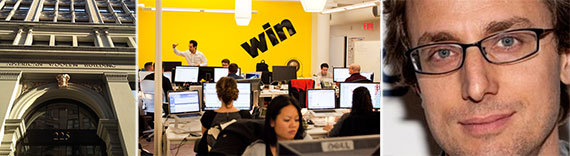 From left: 225 Park Avenue South, Buzzfeed office and Jonah Perretti