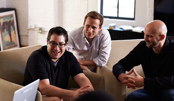 From left: CompStak's Michael Mandel, David Peterson and Vadim Belobrovka (Credit: Trevett McCandliss & Nancy Campbell)