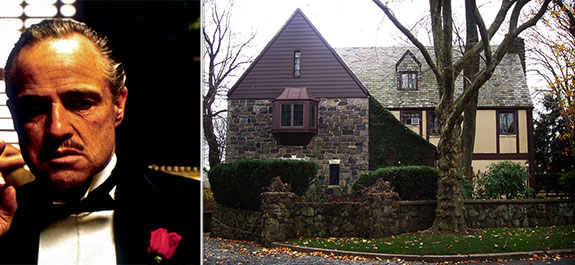 From left: Marlon Brando on the Godfather and the Staten Island home from the movie