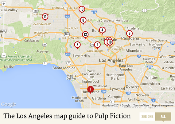 "All the locations of ""Pulp Fiction"" mapped"