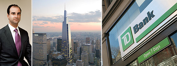 From left: Andrew Mathias, a rendering of One Vanderbilt and TD Bank