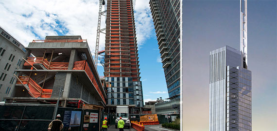 From left: new construction in New York and a rendering of the Nordstrom Tower