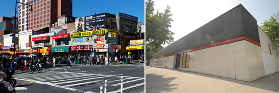 From left: Flushing, Queens and 137-45 Northern Boulevard