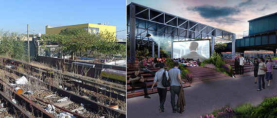 Present conditions and renderings of the proposed QueensWay
