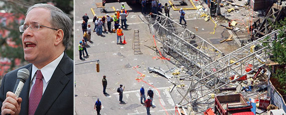 From left: Scott Stringer and the May 2008 crane collapse on the Upper East Side
