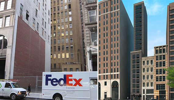 9 East 30th Street and a rendering of the building proposed for the site (Credit: Kossar + Garry Architects)