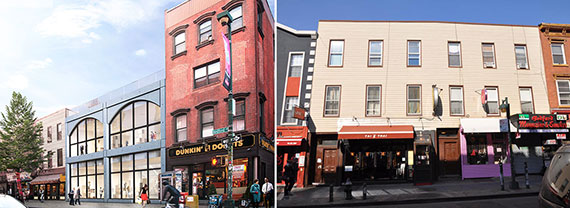 From left: rendering of 184-186 Bedford Avenue and 204-206 Bedford Avenue, Williamsburg