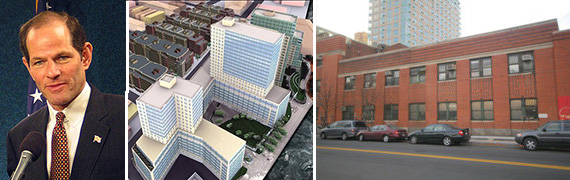 Eliot Spitzer, scrapped plans for 420 Kent Ave in Williamsburg and current site