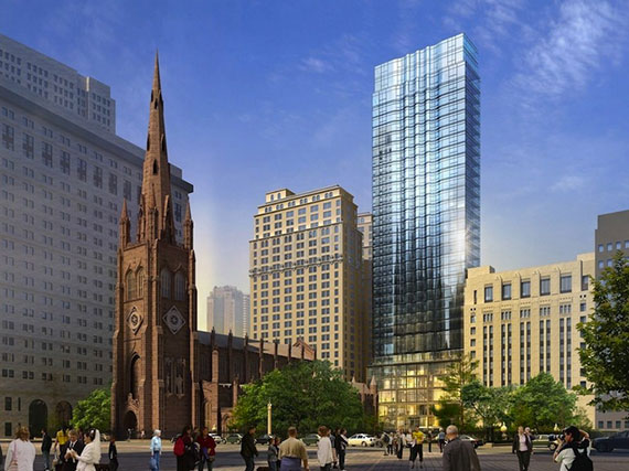 Potential rendering for the new mixed-use tower on Trinity Place