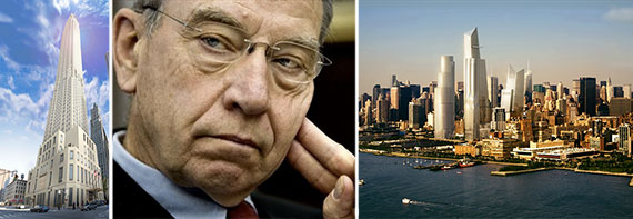 From left: rendering of 30 Park Place, Senator Chuck Grassley and a rendering of Hudson Yards