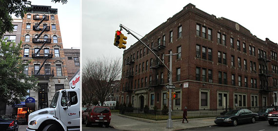 From left: 233 East 77th Street, Manhattan and 1617 President Street, Brooklyn