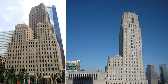 From left: 140 West Street and 1 Wall Street