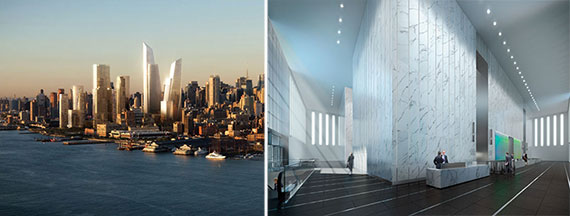 From left: a rendering of Hudson Yards and a rendering of the lobby at One World Trade Center