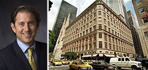 From left: Richard Baker and the Saks Fifth Building at 611 Fifth Avenue