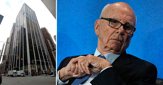 From left: 1185 Sixth Avenue and Rupert Murdoch