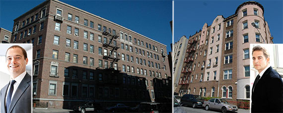 From left: 901 Washington Avenue in Crown Heights, 3100 Brighton 2nd Street in Brighton Beach (inset: Douglas Eisenberg and Aaron Jungreis)