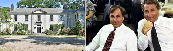 From left: Peter Madoff's Old Westbury home and brothers Peter (left) and Bernard Madoff in 1989