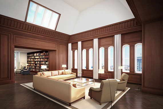 Rendering of a 29th floor unit at the Woolworth Building (Credit: Williams New York)