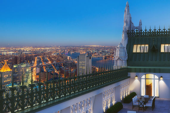 Rendering of the terrace on the 29th floor of the Woolworth Building (Credit: Williams New York)