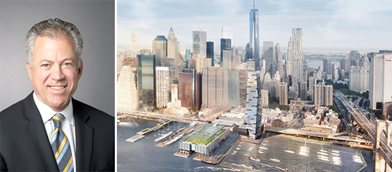 Howard Hughes Corporation's Chris Curry and a rendering of plans for South Street Seaport
