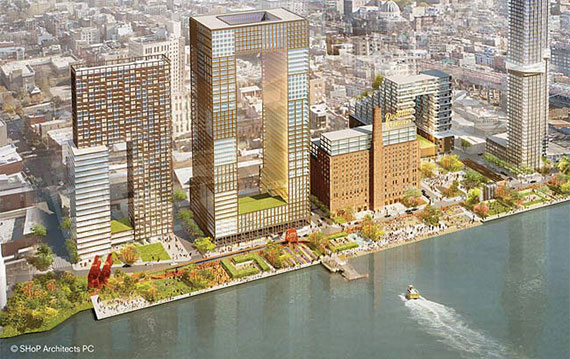 A rendering of Two Trees' Domino Sugar Factory redevelopment