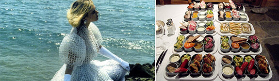 A hand-made wedding dress asking $250,000 and a stomach extending, multi-course meal