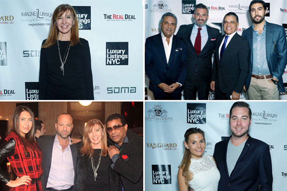 Clockwise from top left: LLNYC cover star Nicole Miller; Morris Moinian, Amir Korangy, Joseph Moinian and Matthew Moinian; Stan Gale Jr. and Jackie Gale; Elena Kosmina, Arthur Dozortsev, Nicole Miller and George Wayne