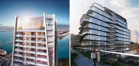 From left: Zaha Hadid's renderings of One Thousand Museum in Miami and 520 West 28th Street in Chelsea