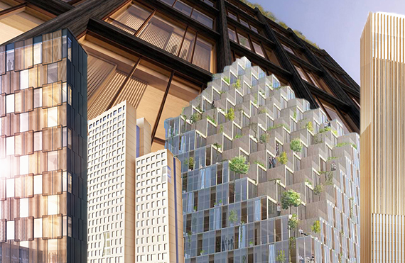 Rendering of 478 West 18th Street (inset from left: renderings of LEVER Architecture's Framework, of Rüdiger Lainer and Partner's HoHo project, C.F. Moller 's HSB 2023 and MGA's Baobab)
