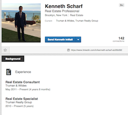 A screenshot of Scharf's LinkedIn profile, where both affiliations are listed
