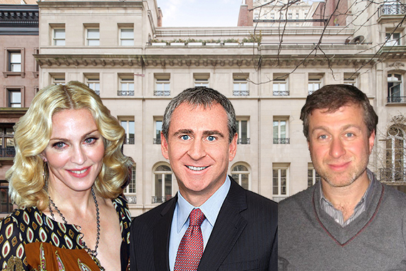 Townhouses at 12, 14 and 16 East 63nd Street, expected to fetch a combined $120 million (inset from left: Madonna, Kenneth Griffin and Roman Abramovich)