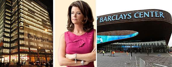 The New York TImes building, Forest City Ratner CEO MaryAnne Gilmartin and the Barclays Center arena