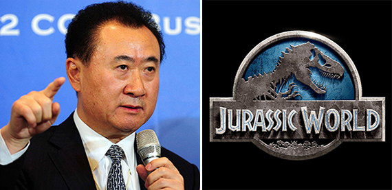 "Wang Jianlin and a poster for ""Jurassic World"""