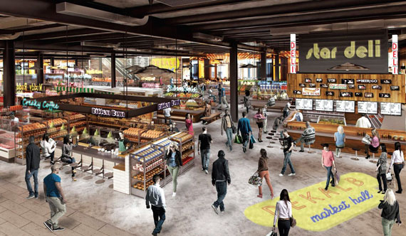 A rendering of the Dekalb Market Hall, set to open in March