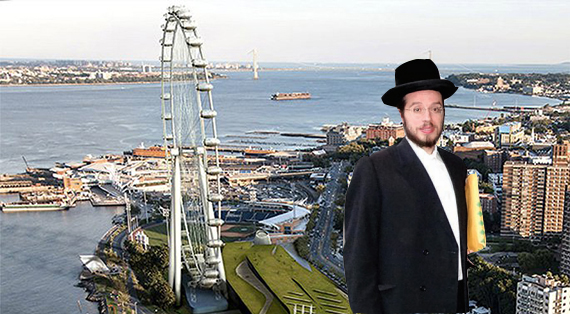 Meir Laufer and a rendering of the New York Wheel