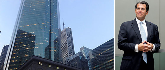 From left: BlackRock's current home at 55 East 52nd Street and JLL's Peter Riguardi