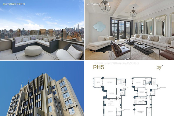 Walker Tower Penthouse 5 and an exterior shot of the building at 212 West 18th Street (Credit: The Corcoran Group)