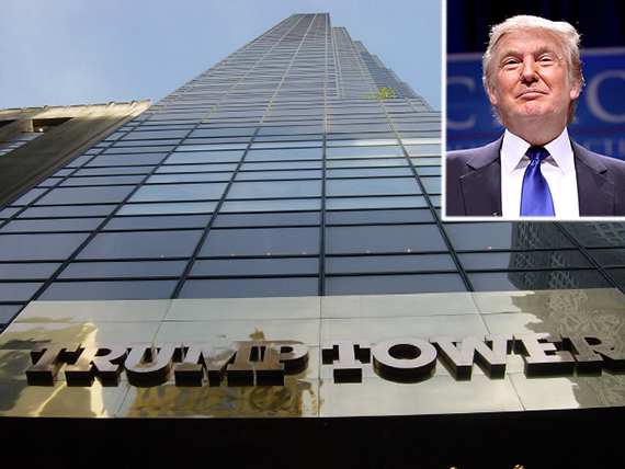 Trump Tower at 725 Fifth Avenue in Midtown (inset: Donald Trump)