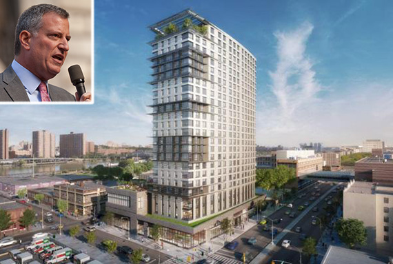 Rendering of 425 Grand Concourse in the South Bronx (inset: Bill de Blasio)