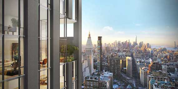 Rendering of the facade at 581 Fifth Avenue in NoMad via Curbed