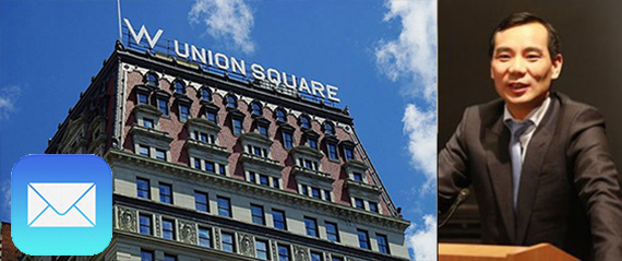 From left: The W Hotel Union Square in Manhattan and Anbang's CEO Wu Xiaohui