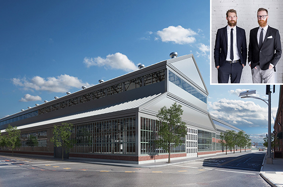 The Brooklyn Navy Yard's Green Manufacturing Center (inset: Michael and Rick Mast)