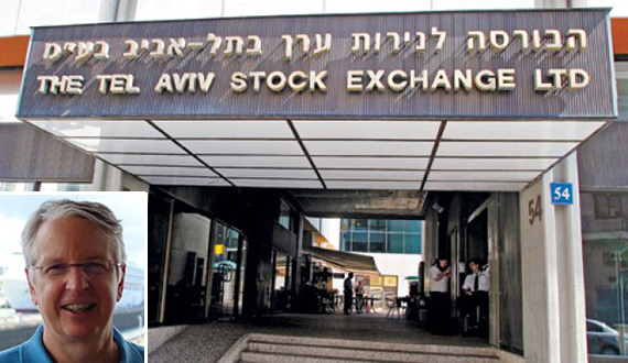 Tel Aviv Stock Exchange (inset: Alan Sanskin)