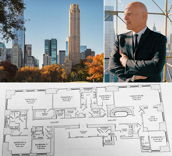 Clockwise from left: Rendering of 220 Central Park South (credit: Vornado via Curbed), Steve Roth and floor plan of $250 million condo