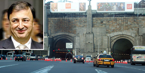 The Lincoln Tunnel (inset: Lev Leviev)