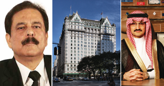From left: Subrata Roy, the Plaza Hotel at 768 5th Avenue in Midtown and Al-Waleed bin Talal