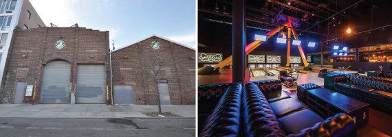 61 Wythe Ave in North Williamsburg, Brooklyn and inside at Brooklyn Bowl